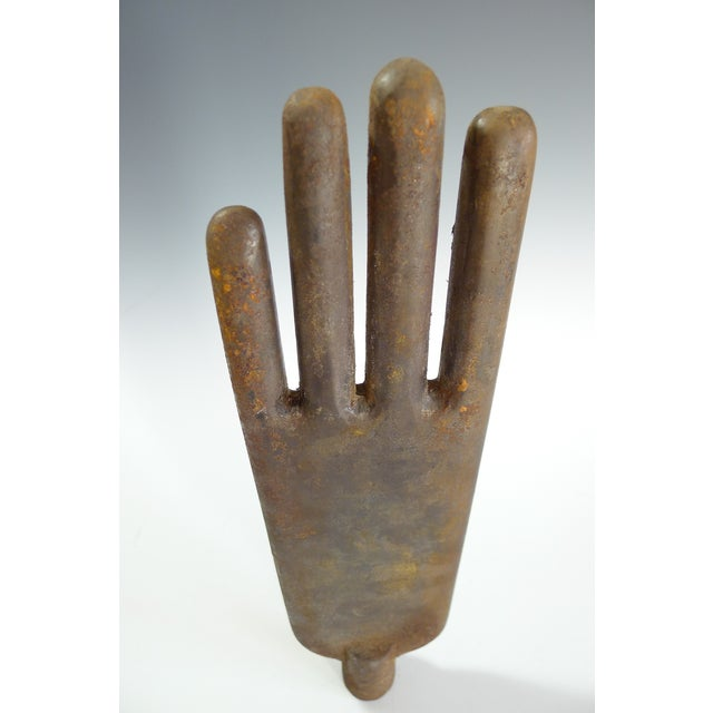 Metal Antique Iron Glove Factory Form Tool For Sale - Image 7 of 8