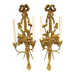 1940s Vintage Palladio Italian Hand Carved Gilt Wood Sconces - A Pair