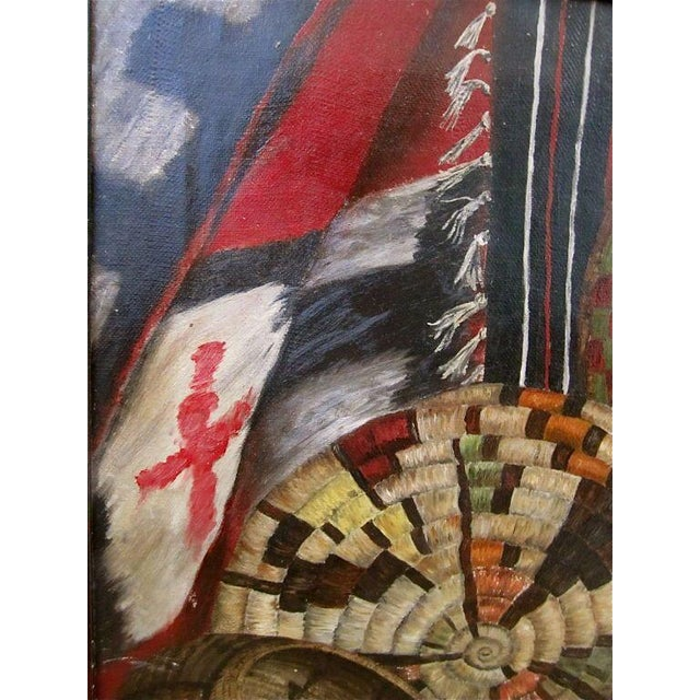 This circa 1929 oil on canvas by Bernice Bryant is a soulful depiction of Navajo blankets, basketry and a crib board....