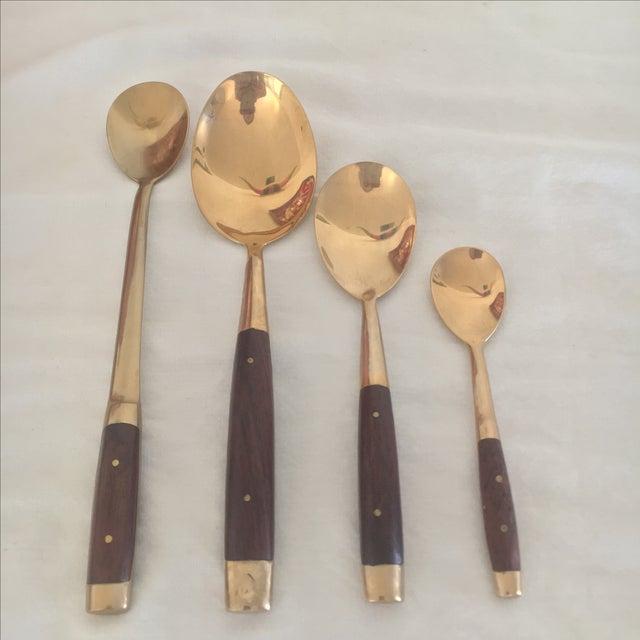 Brass & Teak Flatware & Serving Set - 72 pieces - Image 7 of 8