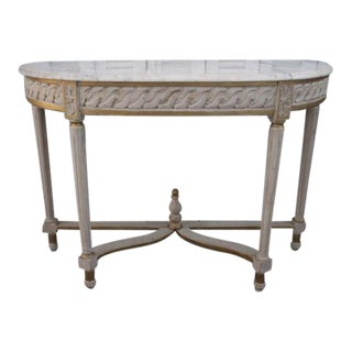 20th Century Vintage French Demilune Console With Marble Top For Sale