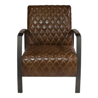 Brown Leather Diamond Quilt Lobby Chair