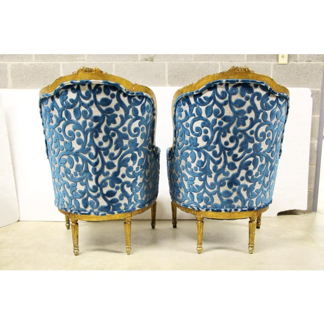 1930s Antique French Giltwood Bergere Chairs, Pair For Sale - Image 5 of 10