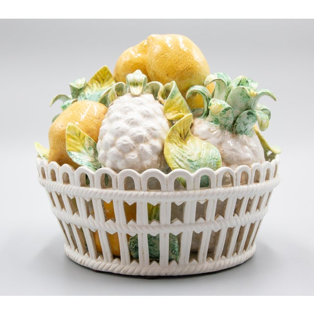 Yellow Vintage Italian Majolica Lemons & Pineapples Basket Centerpiece For Sale - Image 8 of 8