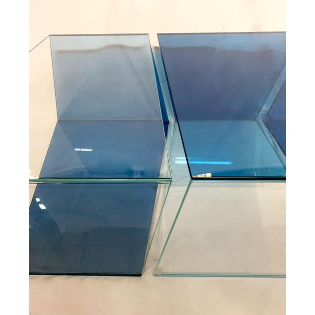 1970s Contemporary Geometric Blue and Clear Glass 3 Piece Coffee Table For Sale In New York - Image 6 of 12