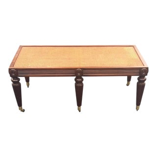 Baker Rattan Coffee Table With Glass Top For Sale