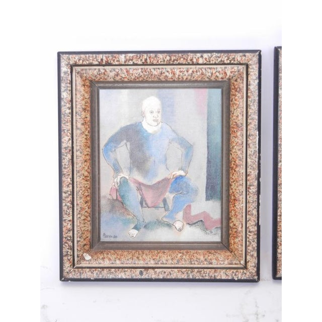 1950's Vintage Contemporary Paintings by Steven- A Pair For Sale - Image 4 of 5