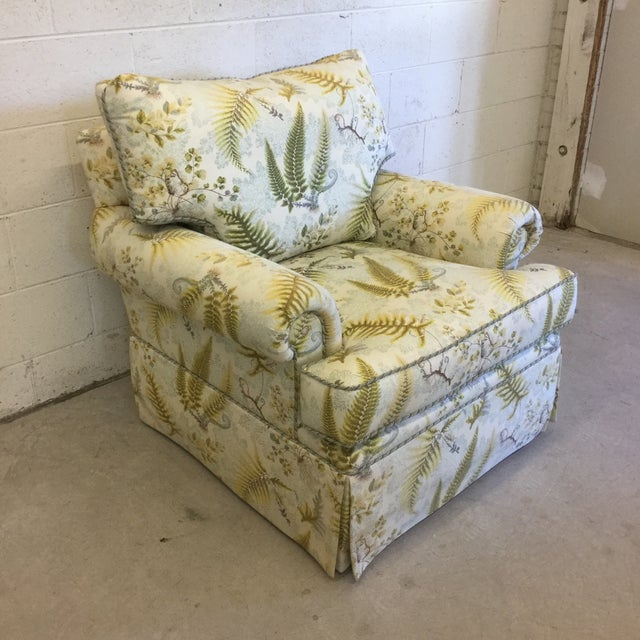 Americana Oversized Rocking Club Chair in Fern Upholstery For Sale - Image 3 of 11