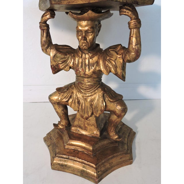Antique Figural Italian Gilt Wood 'Chinese' Side Tables by Fratelli Paoletti (Early 20th. Century) For Sale - Image 11 of 12