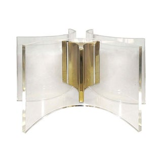 Curved Lucite & Brass Coffee Table Base For Sale