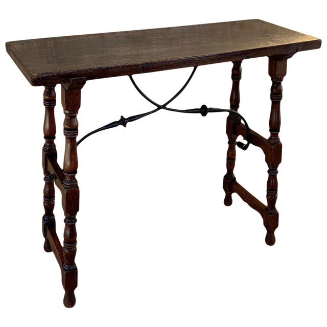 19th Spanish Console Table With Iron Stretcher and Shaped Legs, Side Table, Baroque For Sale