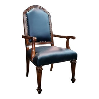 Henredon Furniture Westbury Manor Mahogany & Black Leather Dining Arm Chair For Sale