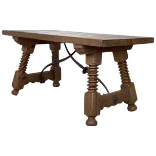 19th Spanish Side Table or Coffee Table With Iron Stretcher, Low Table For Sale
