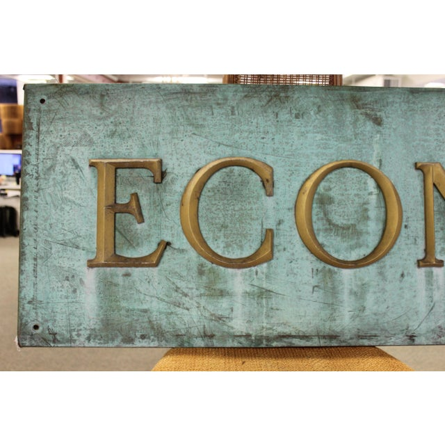 Turquoise Early 20th Century Antique Economy Sign For Sale - Image 8 of 9
