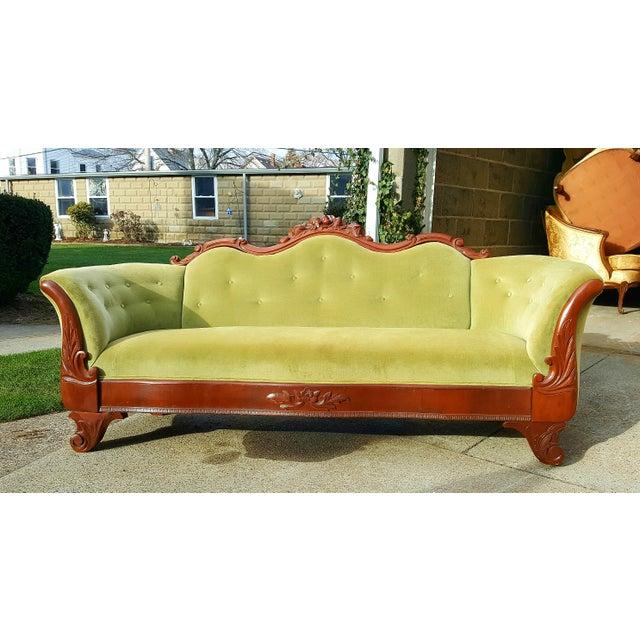 Antique Green Velvet Carved Wood Sofa - Image 4 of 7