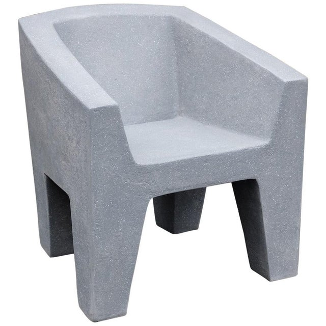 Zachary A. Design Gray Stone Cast Resin 'Van Eyke' Club Chair For Sale - Image 9 of 9