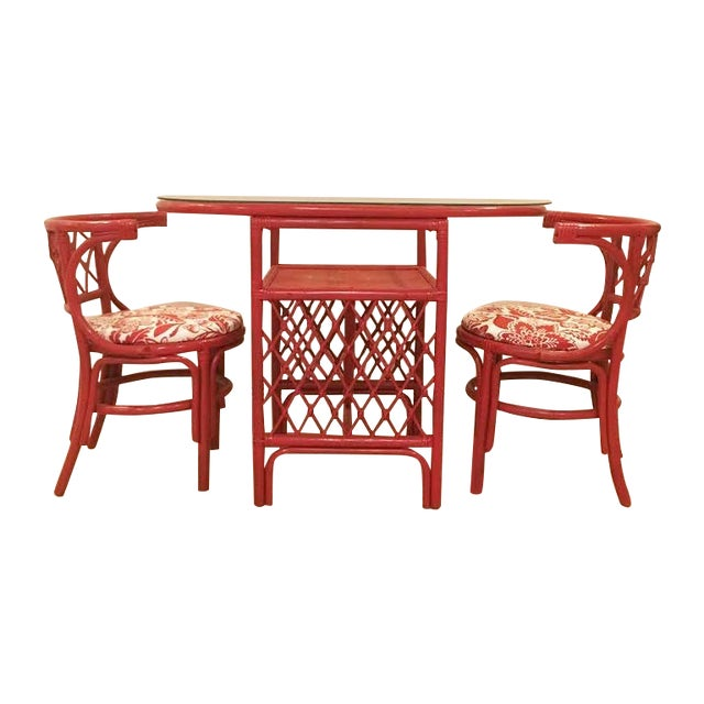 Vintage Rattan Chat Dining Set - Image 1 of 6