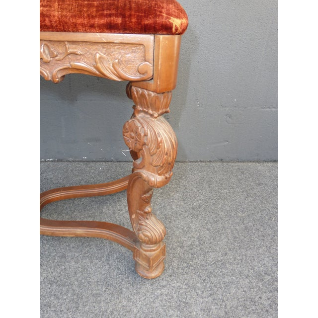 Antique Ornate Carved Orange Velvet Bench - Image 8 of 10