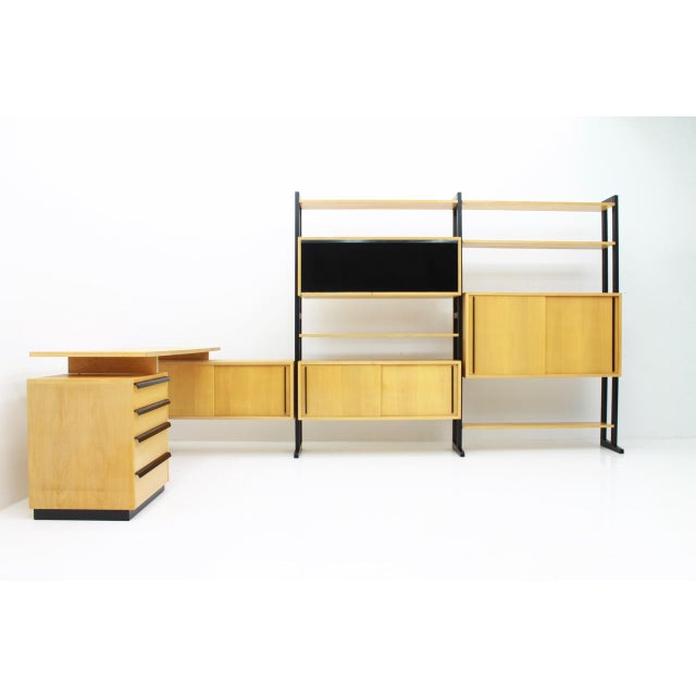 1950s Very Rare Office With a Shelf and a Desk by Alfred Altherr, Switzerland, 1955 For Sale - Image 5 of 10