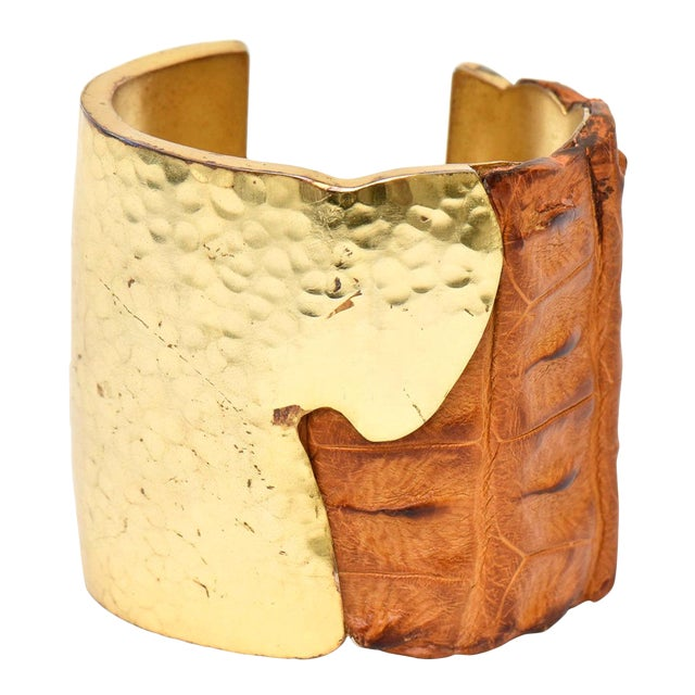Hammered Brass and Crocodile Leather Cuff Signed Artisan Bracelet For Sale