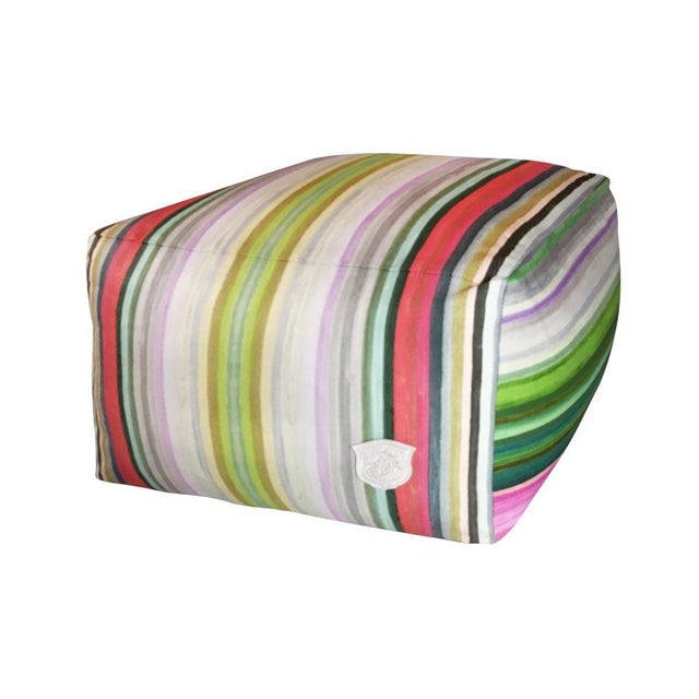 Whimsical and bold stripe patterned fabric created from original artwork by Kristi Kohut. This pouf makes a statement and...