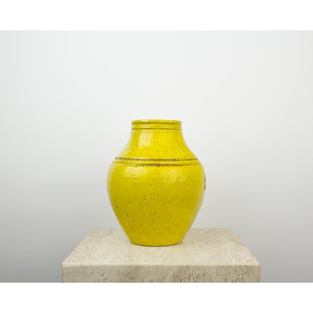 1960s Bitossi for Rosenthal Netter Yellow Pottery Vase For Sale - Image 5 of 9