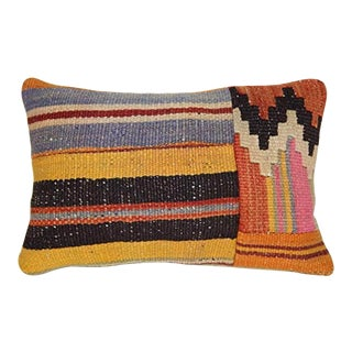 Boho Style Large Handwoven Patchwork Cushion Cover Kilim, Office and Living Room Decor, Woven Wool Lumbar Throw Pillow Cover 14'' X 20'' (35 X 50 Cm) For Sale