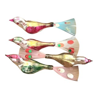 1950s Large Bright Mercury Glass Bird Clip Christmas Ornaments - Set of 4 For Sale