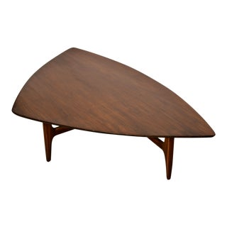 1960s Mid-Century Modern Erwin Lambeth Walnut Coffee Table For Sale