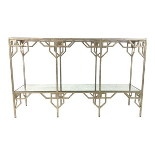 Modern Currey & Co. Metal and Antique Mirror Console Table For Sale