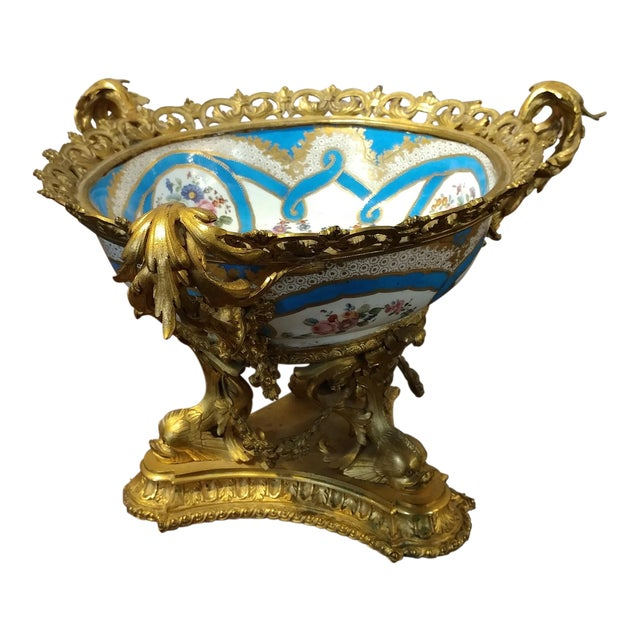 19th Century Beautiful French Sevre Porcelain & Gilt Bronze Center Piece For Sale