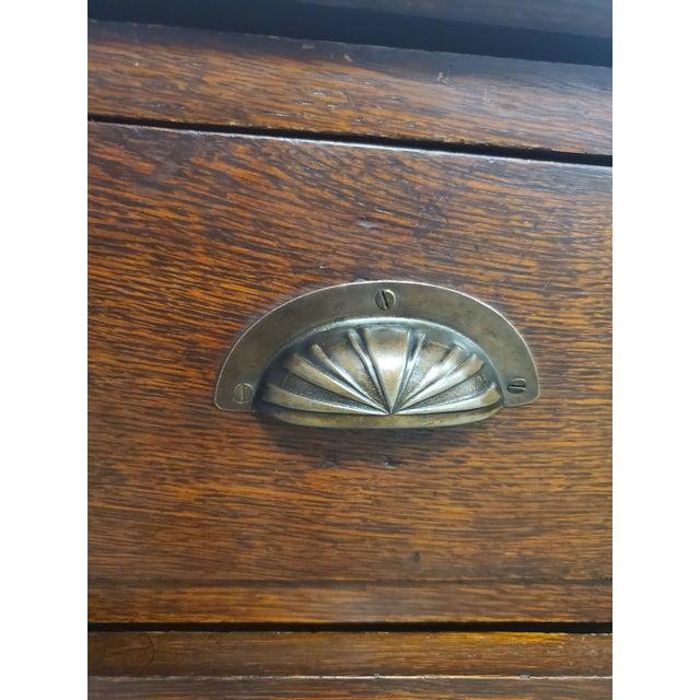 Antique England Oak Barley Twist Drop Front Secretary Desk For Sale - Image 10 of 11