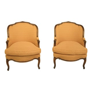 Auffray French Louis XV Style Walnut Bergere Chairs - A Pair