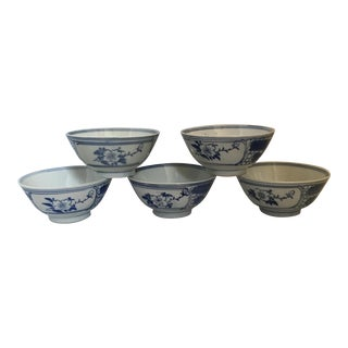 Chinese Blue & White Porcelain Bowls - Set of 5