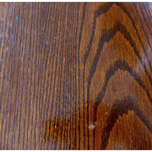 19th Century Antique English Cast Iron & Oak Library/Pub Table For Sale - Image 10 of 11