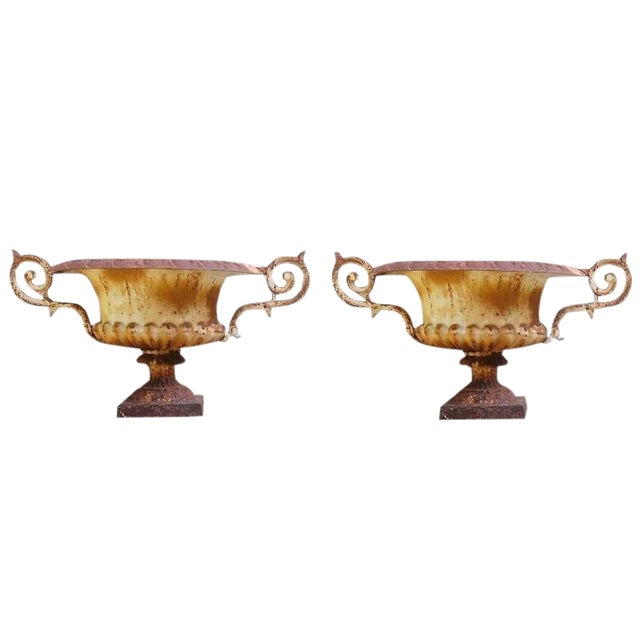 Matching Pair of 19th C French Medici Cast Iron Jardineres With Scroll Arms For Sale