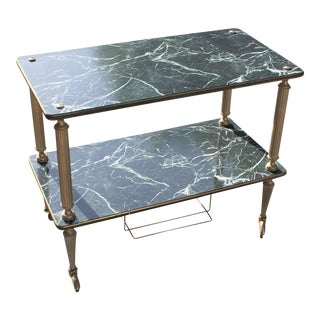 Beautiful Art Deco Maison Jansen Faux Marble Finish Bar Cart Circa 1940s For Sale