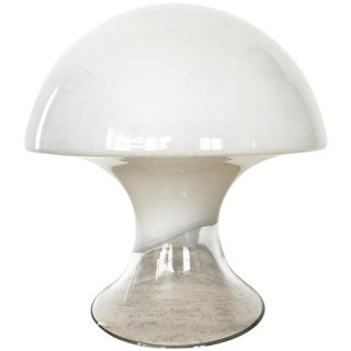 Mid Century Italian Gino Vistosi White Murano Glass Mushroom Table Lamp 1970s For Sale