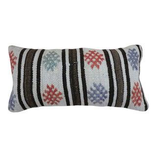 1970s Vintage Multi-Color Kilim Lumbar Pillow For Sale