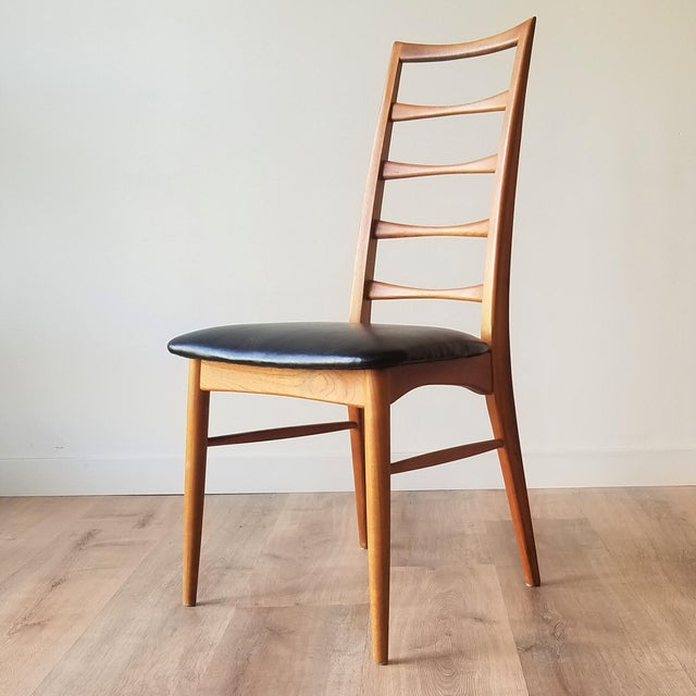 Mid-Century Modern 1960s Niels Kofoed for Koefoeds Hornslet Newly Upholstered Teak Ladder Back Dining Chairs - a Pair For Sale - Image 3 of 13