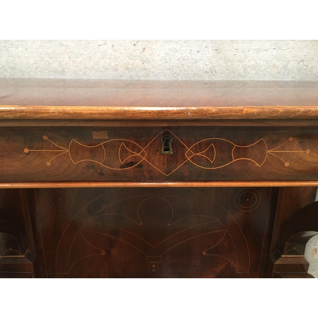 Wood 20th Century Biedermeier Style Marquetry Spanish Console Table With Drawer For Sale - Image 7 of 10