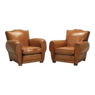 French Club Chairs Original Leather Restored For Sale