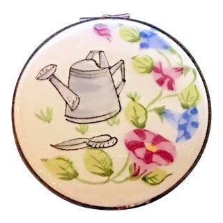 1980s Limoges Hinged Watering Can Round Box For Sale