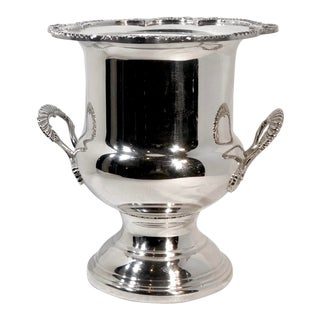 """SilverPlated Sheffield Champagne / Ice Bucket Wine Holder Monogramed """"S"""" Handled For Sale"""