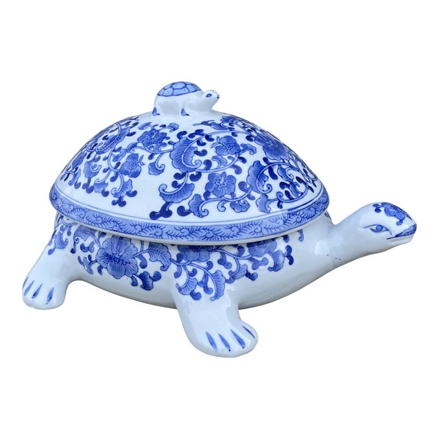 Large Chinese Blue and White Turtle Tureen For Sale