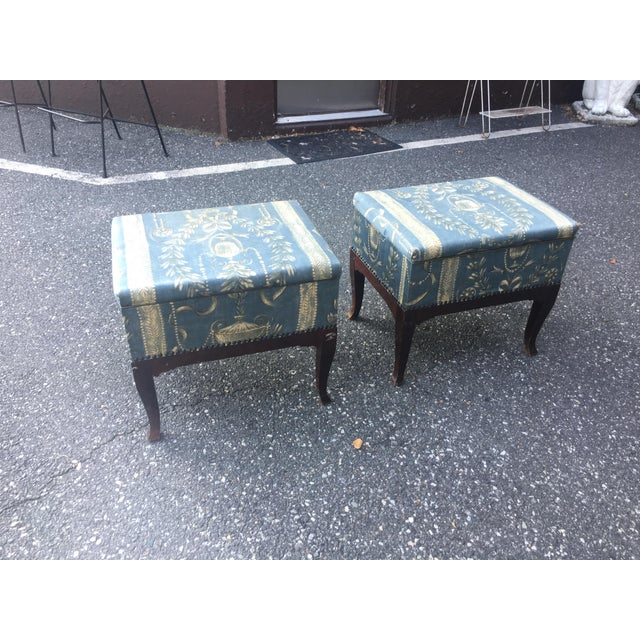 Vintage Mid Century Upholstered Storage Sewing Ottomans- A Pair For Sale - Image 4 of 8