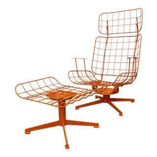 Mid-Century Modern Homecrest Bottemiller Patio Swivel Lounge Chair & Ottoman For Sale