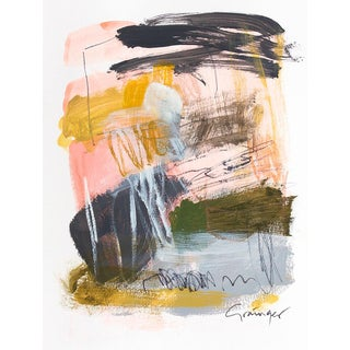 "Lesley Grainger ""Cannes"" Original Abstract Painting on Paper For Sale"