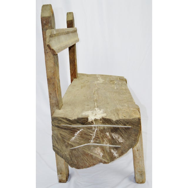 Antique Primitive Log Bench - Image 5 of 10