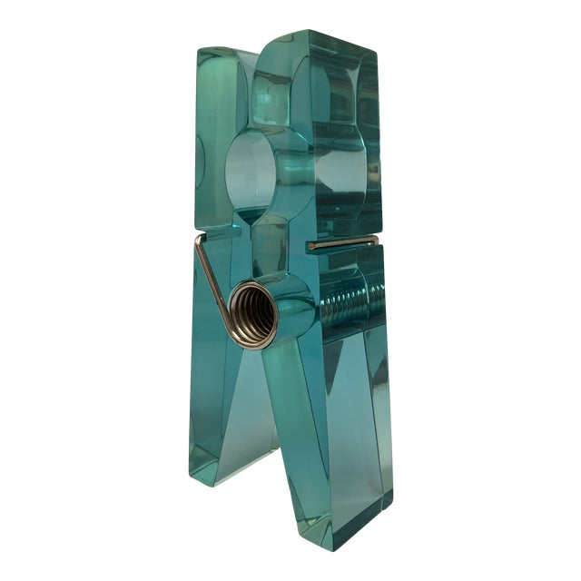Oversized Teal Lucite Clothespin Paperweight or Paper Holder For Sale